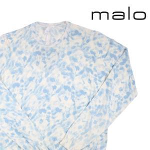 malo カシミヤ混 花柄 丸首セーター UMA196/FAZ12 white x navy 52 16808WN【A16809】|utsubostock
