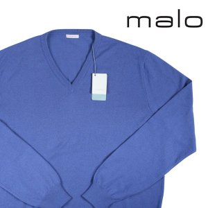 malo Vネックセーター メンズ 秋冬 58/5XL ブルー 青 カシミヤ100% マーロ 大きいサイズ 並行輸入品|utsubostock