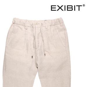 【50】 EXIBIT エグジビット パンツ メンズ 春夏 リネン100% 無地 ホワイト 白 並行輸入品 ズボン|utsubostock