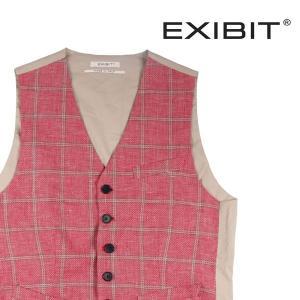 【XL】 EXIBIT エグジビット ジレ メンズ 春夏 リネン混 チェック ピンク 並行輸入品 ベスト|utsubostock