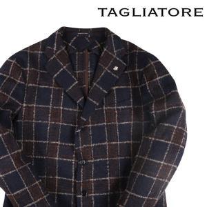 TAGLIATORE アルパカ混 チェック ジャケット 1SMC23K navy x brown 54【W17038】|utsubostock