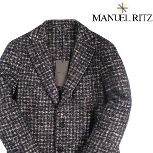 Manuel Ritz アルパカ混 チェック ジャケット 2332G2728 brown x navy 50【W17044】 マニュエル リッツ|utsubostock