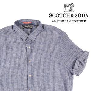 SCOTCH&SODA 半袖シャツ メンズ 春夏 L/48 ネイビー 紺 リネン100% スコッチアンドソーダ 並行輸入品|utsubostock