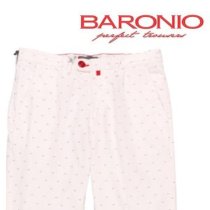 BARONIO コットンパンツ メンズ 春夏 31/M ホワイト 白 バロニオ 並行輸入品|utsubostock