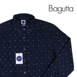 【L】 Bagutta バグッタ 長袖シャツ メンズ 小花柄 ネイビー 紺 並行輸入品 カジュアルシャツ|utsubostock