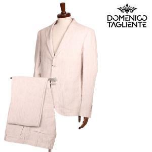 【48】 Domenico Tagliente ドメニコ・タリエンテ スーツ メンズ 春夏 ストライプ ベージュ 並行輸入品|utsubostock