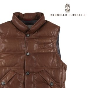 BRUNELLO CUCINELLI ダウンベスト CS369 brown x gray M【W17536】|utsubostock