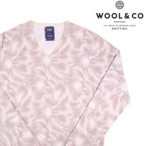 【L】 WOOL&CO ウールアンドコー Vネックセーター メンズ ボタニカル柄 ベージュ 並行輸入品 ニット utsubostock