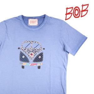 BOB Uネック半袖Tシャツ メンズ 春夏 XXL/52 ブルー 青 READYR214 ボブ 大きいサイズ 並行輸入品|utsubostock