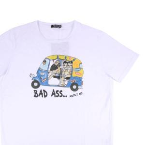 【L】 ABOUT ME Hand Made アバウトミー Uネック半袖Tシャツ メンズ 春夏 ワンポイント ホワイト 白 並行輸入品 トップス|utsubostock
