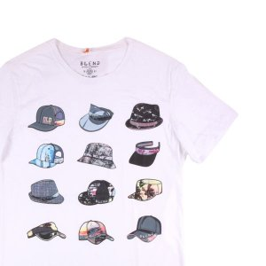 【S】 BLEND ブレンド Uネック半袖Tシャツ メンズ 春夏 総柄 ホワイト 白 並行輸入品 トップス|utsubostock