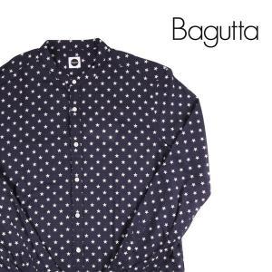 Bagutta スタンドカラー長袖シャツ メンズ L/48 ネイビー 紺 バグッタ 並行輸入品|utsubostock