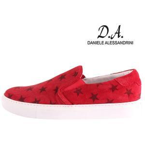 Daniele Alessandrini 星柄 スリッポン F7190KL red 42 17731RD【A17733】|utsubostock