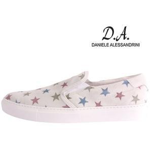 【43】 Daniele Alessandrini ダニエレアレッサンドリーニ スリッポン メンズ 星柄 ホワイト 白 レザー 並行輸入品|utsubostock