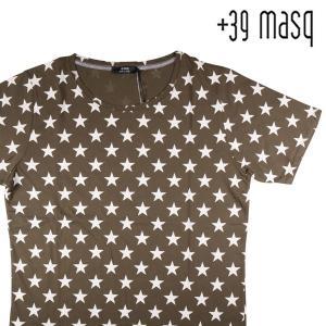 【XXXXL】 +39 masq マスク Uネック半袖Tシャツ メンズ 春夏 星柄 カーキ 並行輸入品 トップス 大きいサイズ|utsubostock