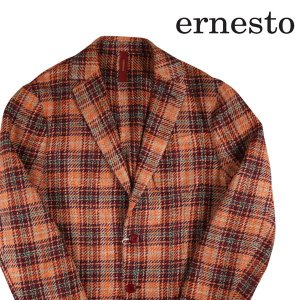 ernesto シルク混 チェック ジャケット CV251311 orange x purple 52 17882【A17883】 エルネスト utsubostock