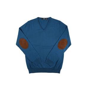 +39 masq Vネックセーター メンズ 秋冬 S/44 ブルー 青 ヴァージンウール100% マスク 並行輸入品|utsubostock|02
