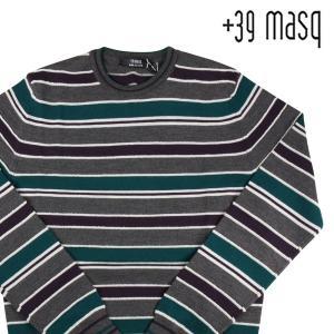 【L】 +39 masq マスク 丸首セーター メンズ 秋冬 ヴァージンウール100% ボーダー グレー 灰色 並行輸入品 ニット|utsubostock