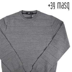 【M】 +39 masq マスク 丸首セーター メンズ 秋冬 ヴァージンウール100% ボーダー グレー 灰色 並行輸入品 ニット|utsubostock