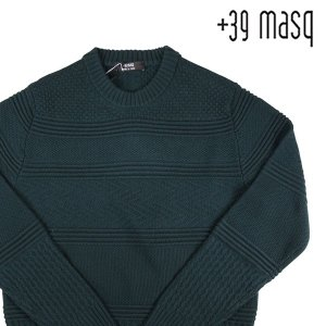 +39 masq 丸首セーター メンズ 秋冬 S/44 グリーン 緑 ヴァージンウール100% マスク 並行輸入品|utsubostock