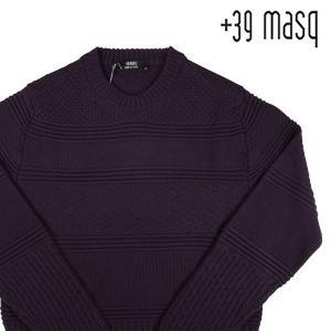 【L】 +39 masq マスク 丸首セーター メンズ 秋冬 ヴァージンウール100% パープル 紫 並行輸入品 ニット|utsubostock