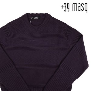 【M】 +39 masq マスク 丸首セーター メンズ 秋冬 ヴァージンウール100% パープル 紫 並行輸入品 ニット|utsubostock