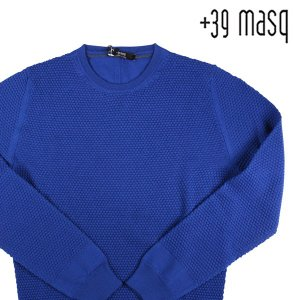 【XXXXL】 +39 masq マスク 丸首セーター メンズ 秋冬 ヴァージンウール100% ブルー 青 並行輸入品 ニット 大きいサイズ|utsubostock