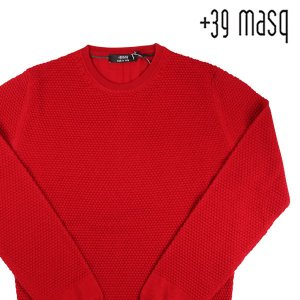 【S】 +39 masq マスク 丸首セーター メンズ 秋冬 ヴァージンウール100% レッド 赤 並行輸入品 ニット|utsubostock