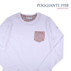 POGGIANTI 1958 Uネック長袖Tシャツ メンズ M/46 ホワイト 白 ポジャンティ 1958 並行輸入品 utsubostock