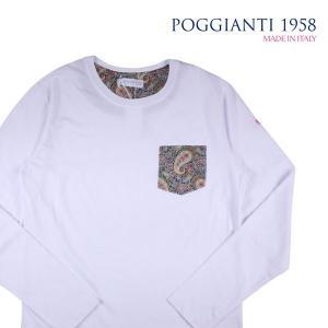 POGGIANTI 1958 Uネック長袖Tシャツ メンズ M/46 ホワイト 白 ポジャンティ 1958 並行輸入品|utsubostock