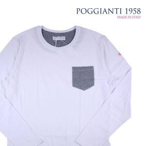 POGGIANTI 1958 Uネック長袖Tシャツ メンズ L/48 ホワイト 白 ポジャンティ 1958 並行輸入品|utsubostock