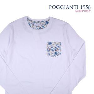 【M】 POGGIANTI 1958 ポジャンティ 1958 Uネック長袖Tシャツ メンズ 花柄 ホワイト 白 並行輸入品 トップス|utsubostock