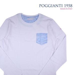 POGGIANTI 1958 Uネック長袖Tシャツ メンズ L/48 ホワイト 白 ポジャンティ 1958 並行輸入品 utsubostock