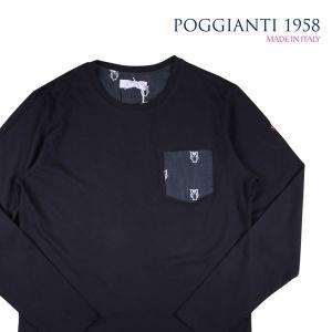 【XL】 POGGIANTI 1958 ポジャンティ 1958 Uネック長袖Tシャツ メンズ 刺繍 ネイビー 紺 並行輸入品 トップス|utsubostock