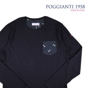 【L】 POGGIANTI 1958 ポジャンティ 1958 Uネック長袖Tシャツ メンズ 刺繍 ネイビー 紺 並行輸入品 トップス|utsubostock