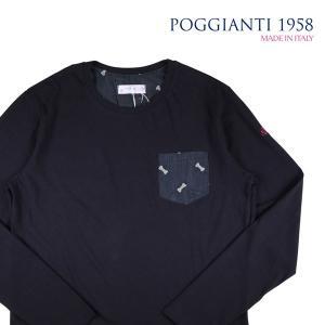 【XXL】 POGGIANTI 1958 ポジャンティ 1958 Uネック長袖Tシャツ メンズ 刺繍 ネイビー 紺 並行輸入品 トップス 大きいサイズ|utsubostock