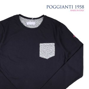 【M】 POGGIANTI 1958 ポジャンティ 1958 Uネック長袖Tシャツ メンズ 花柄 ネイビー 紺 並行輸入品 トップス|utsubostock