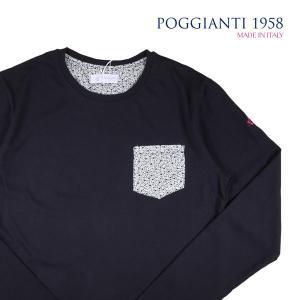 【XXL】 POGGIANTI 1958 ポジャンティ 1958 Uネック長袖Tシャツ メンズ 花柄 ネイビー 紺 並行輸入品 トップス 大きいサイズ|utsubostock