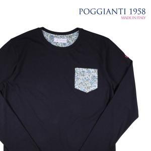 【XL】 POGGIANTI 1958 ポジャンティ 1958 Uネック長袖Tシャツ メンズ 花柄 ネイビー 紺 並行輸入品 トップス|utsubostock