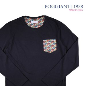 【M】 POGGIANTI 1958 ポジャンティ 1958 Uネック長袖Tシャツ メンズ 車柄 ネイビー 紺 並行輸入品 トップス|utsubostock