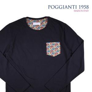 【XL】 POGGIANTI 1958 ポジャンティ 1958 Uネック長袖Tシャツ メンズ 車柄 ネイビー 紺 並行輸入品 トップス|utsubostock