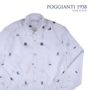POGGIANTI 1958 長袖シャツ メンズ 43/3XL ホワイト 白 刺繍 ポジャンティ 1958 大きいサイズ 並行輸入品|utsubostock
