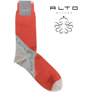 alto milano   靴下 AIAM1376UC orange x gray  18117OR【A18117】 アルト|utsubostock