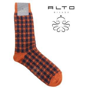 alto milano アルトミラノ ソックス メンズ 秋冬 チェック オレンジ 並行輸入品|utsubostock