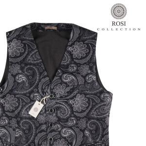 【46】 ROSI COLLECTION ロージコレクション ジレ メンズ 秋冬 ペイズリー ネイビー 紺 並行輸入品 ベスト|utsubostock
