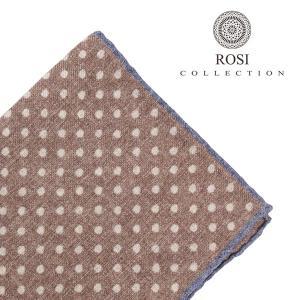 ROSI COLLECTION ロージコレクション ポケットチーフ メンズ 秋冬 水玉 ブラウン 茶 並行輸入品|utsubostock