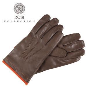 ROSI COLLECTION グローブ メンズ 秋冬 ブラウン 茶 レザー カシミヤ100% ロージコレクション 並行輸入品|utsubostock