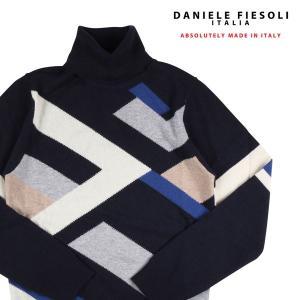 【L】 DANIELE FIESOLI ダニエレフィエゾーリ タートルネックセーター メンズ 秋冬 ネイビー 紺 並行輸入品 ニット utsubostock