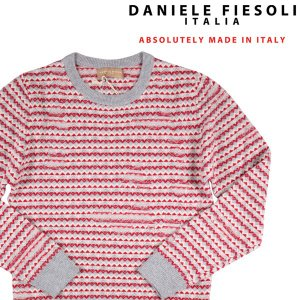 DANIELE FIESOLI   丸首セーター DF5050 gray x red S 18201【W18201】 ダニエレフィエゾーリ|utsubostock