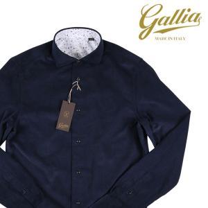 Gallia 長袖シャツ メンズ 秋冬 40/L ネイビー 紺 コーデュロイ ガリア 並行輸入品|utsubostock